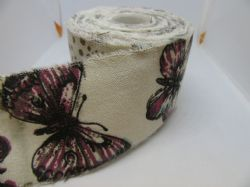 2 metres or Full Roll 60mm  Butterfly Vintage Burlap Frayed Ribbon 70 mm Jute Hessian